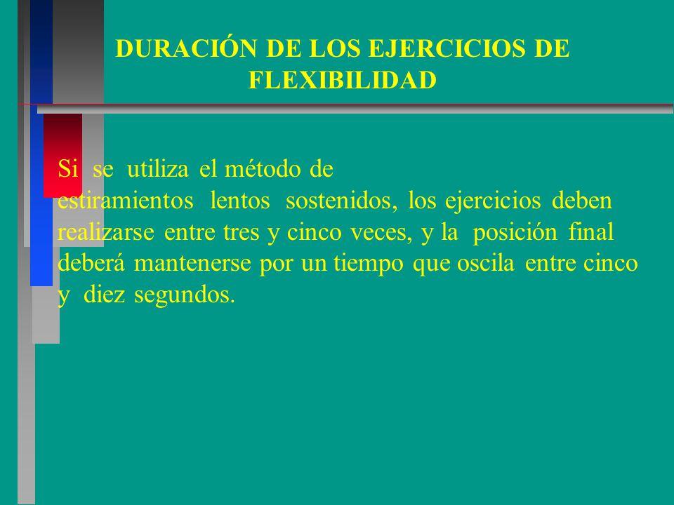 Si se utiliza el método de estiramientos lentos sostenidos, los ejercicios deben realizarse entre tres y cinco veces, y la posición final deberá mantenerse por un tiempo que oscila entre cinco y diez segundos.