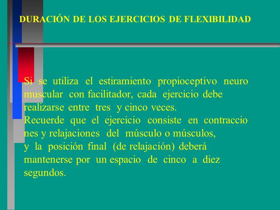Si se utiliza el estiramiento propioceptivo neuro muscular con facilitador, cada ejercicio debe realizarse entre tres y cinco veces.