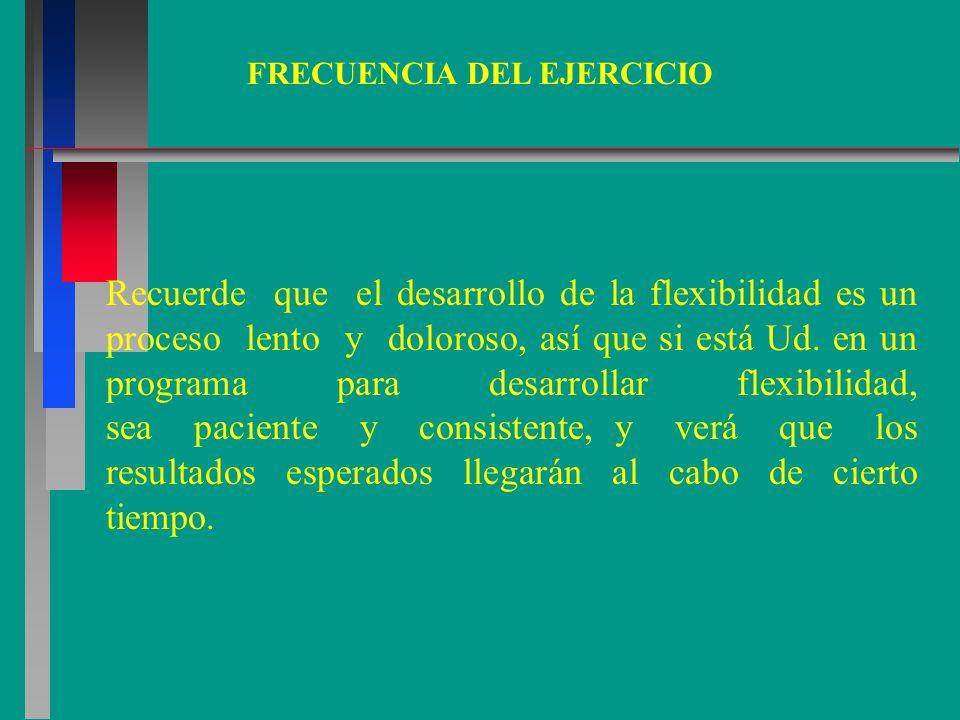 FRECUENCIA DEL EJERCICIO Recuerde que el desarrollo de la flexibilidad es un proceso lento y doloroso, así que si está Ud.