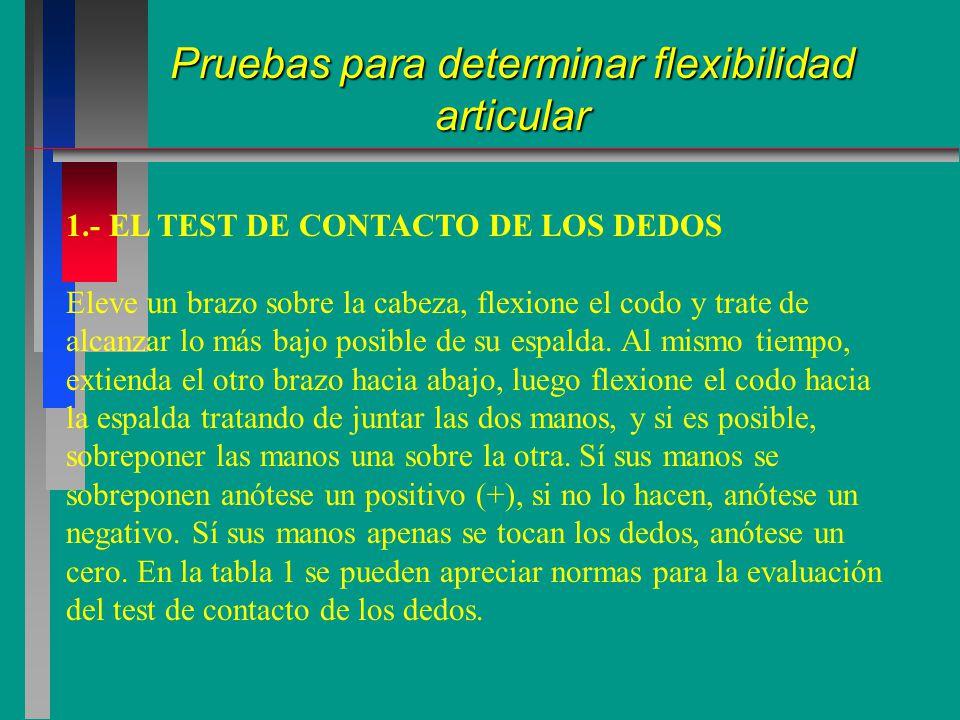 1.- EL TEST DE CONTACTO DE LOS DEDOS Eleve un brazo sobre la cabeza, flexione el codo y trate de alcanzar lo más bajo posible de su espalda.