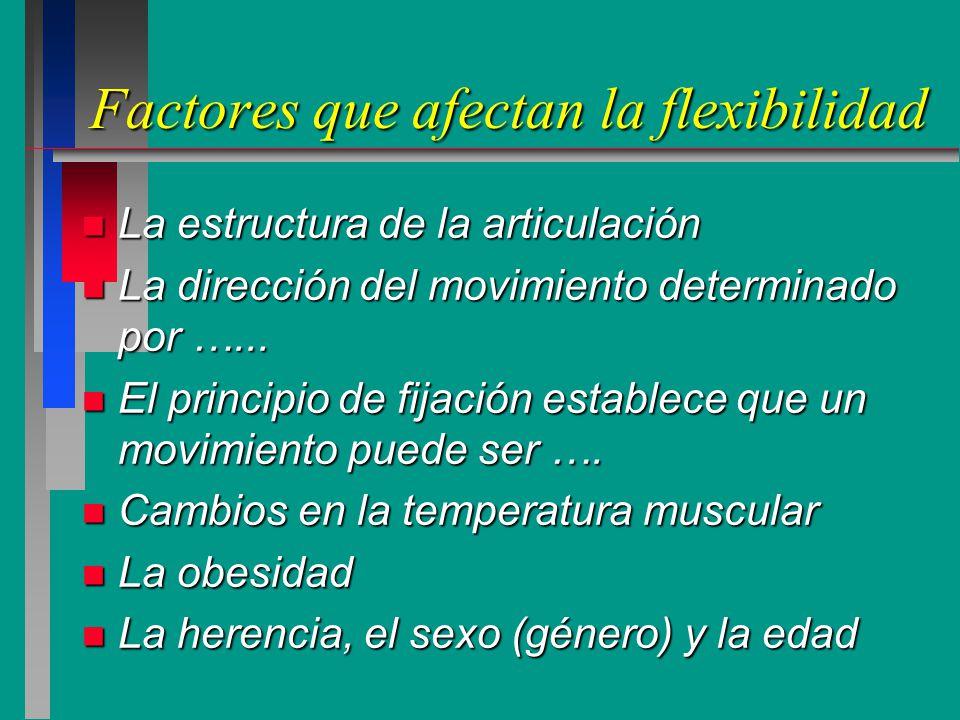 Factores que afectan la flexibilidad n La estructura de la articulación n La dirección del movimiento determinado por …...