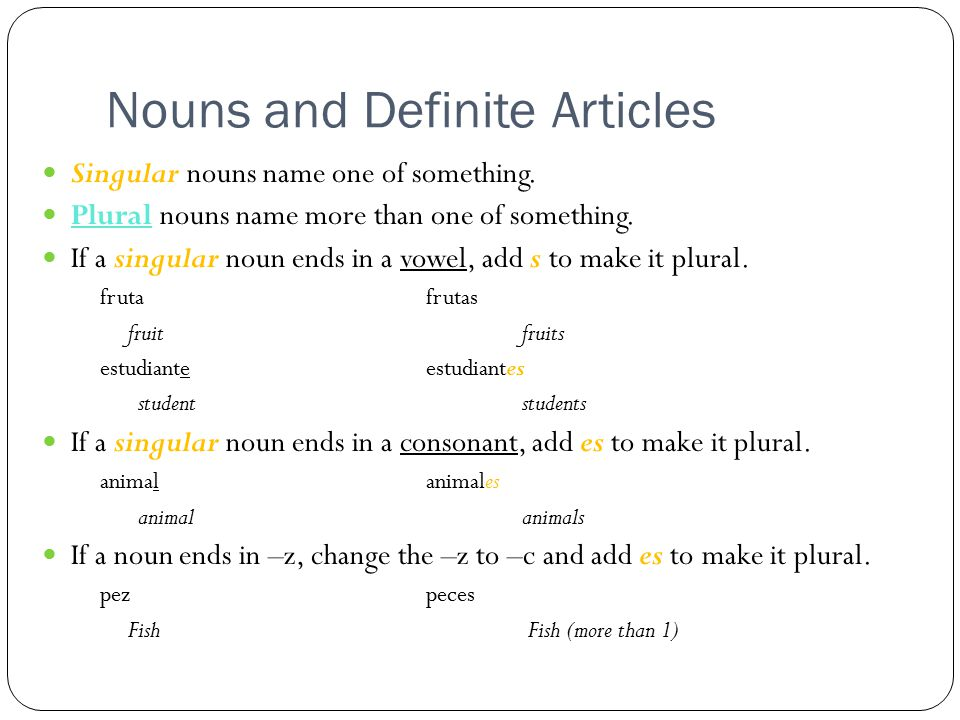 Nouns and Definite Articles Singular nouns name one of something.