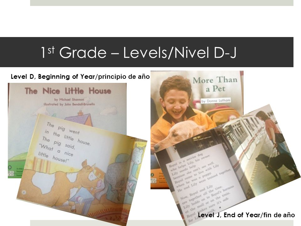 1 st Grade – Levels/Nivel D-J Level D, Beginning of Year/ principio de año Level J, End of Year/ fin de año