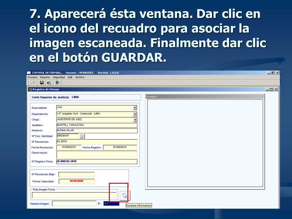 7. Aparecerá ésta ventana. Dar clic en el icono del recuadro para asociar la imagen escaneada.