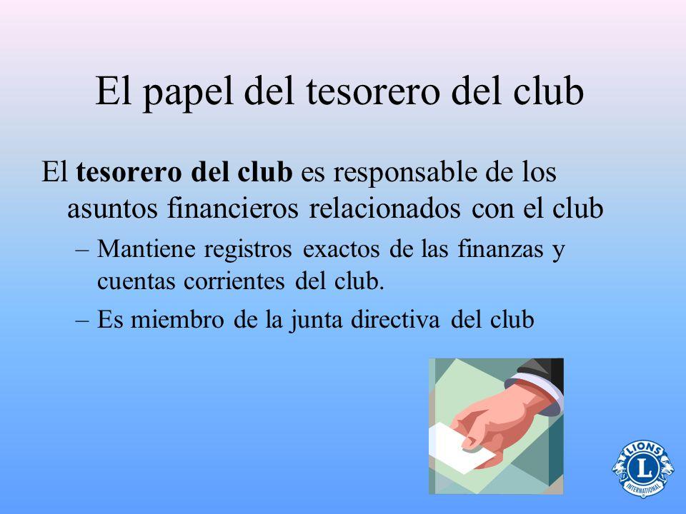 El papel del tesorero del club El tesorero del club es responsable de los asuntos financieros relacionados con el club –Mantiene registros exactos de las finanzas y cuentas corrientes del club.