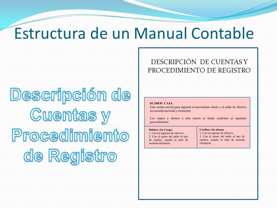 Estructura de un Manual Contable DESCRIPCIÓN DE CUENTAS Y PROCEDIMIENTO DE REGISTRO