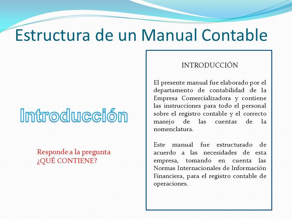 Estructura de un Manual Contable INTRODUCCIÓN El presente manual fue elaborado por el departamento de contabilidad de la Empresa Comercializadora y co