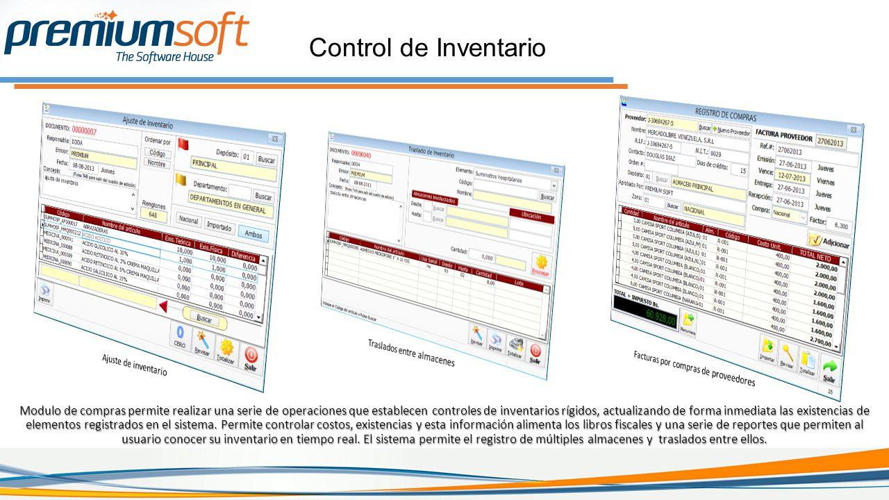 Control de Inventario Modulo de compras permite realizar una serie de operaciones que establecen controles de inventarios rígidos, actualizando de forma inmediata las existencias de elementos registrados en el sistema.