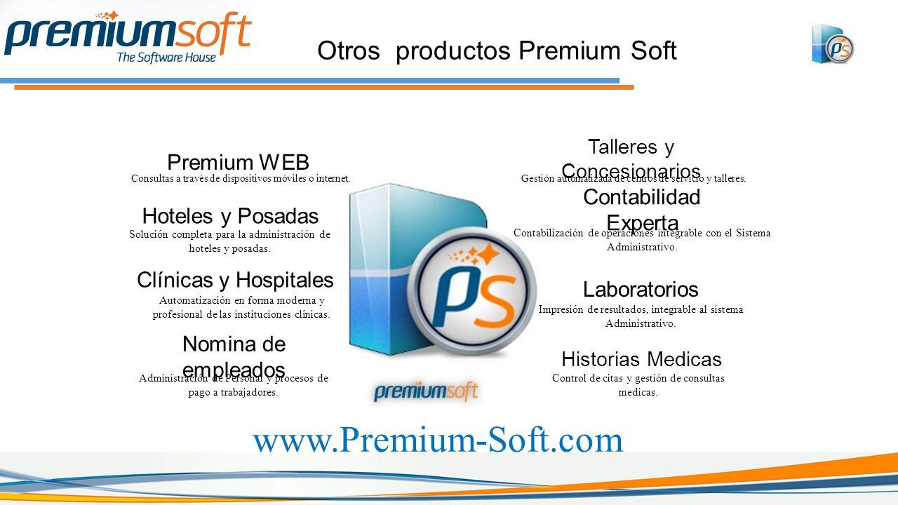 Otros productos Premium Soft Talleres y Concesionarios Gestión automatizada de centros de servicio y talleres.