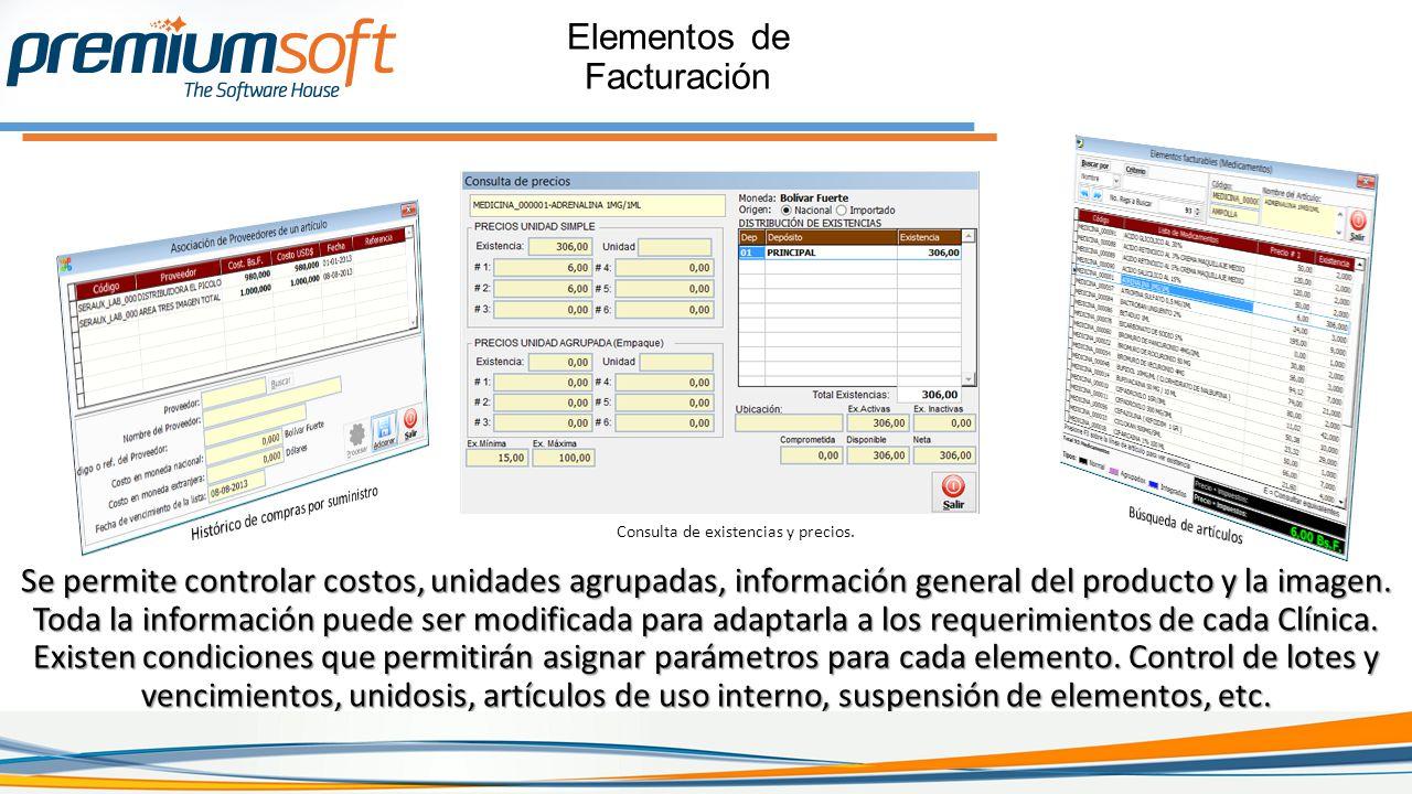 Se permite controlar costos, unidades agrupadas, información general del producto y la imagen.
