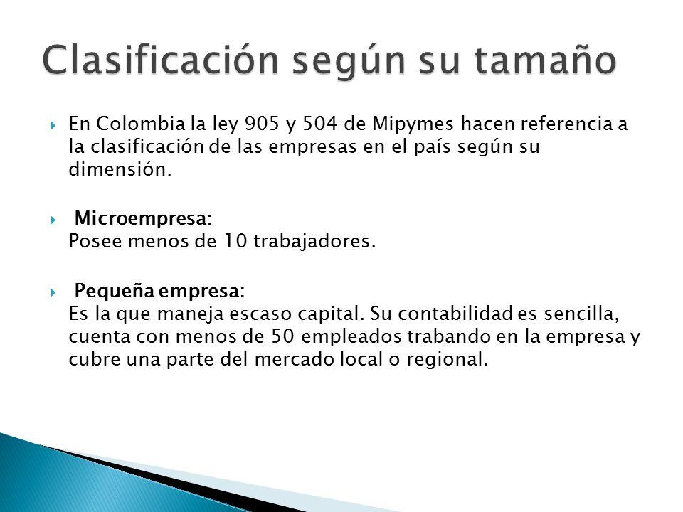  En Colombia la ley 905 y 504 de Mipymes hacen referencia a la clasificación de las empresas en el país según su dimensión.