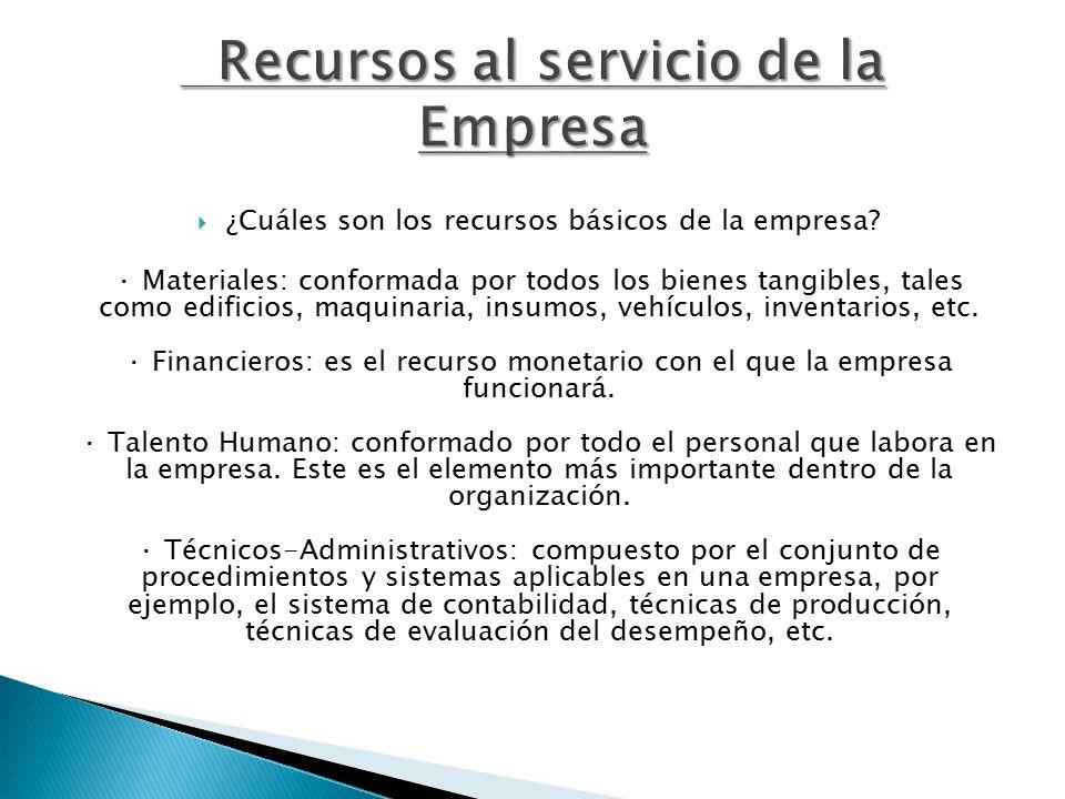  ¿Cuáles son los recursos básicos de la empresa.