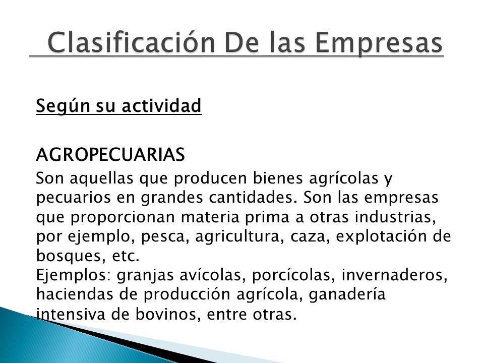 Según su actividad AGROPECUARIAS Son aquellas que producen bienes agrícolas y pecuarios en grandes cantidades.