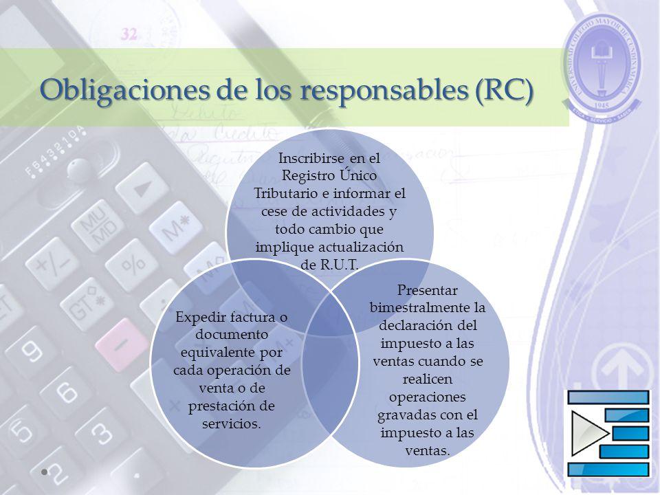 Obligaciones de los responsables (RC) Inscribirse en el Registro Único Tributario e informar el cese de actividades y todo cambio que implique actualización de R.U.T.