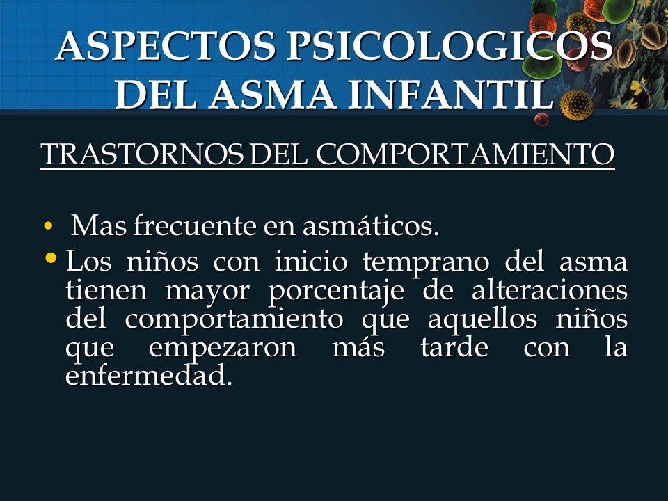 TRASTORNOS DEL COMPORTAMIENTO Mas frecuente en asmáticos.