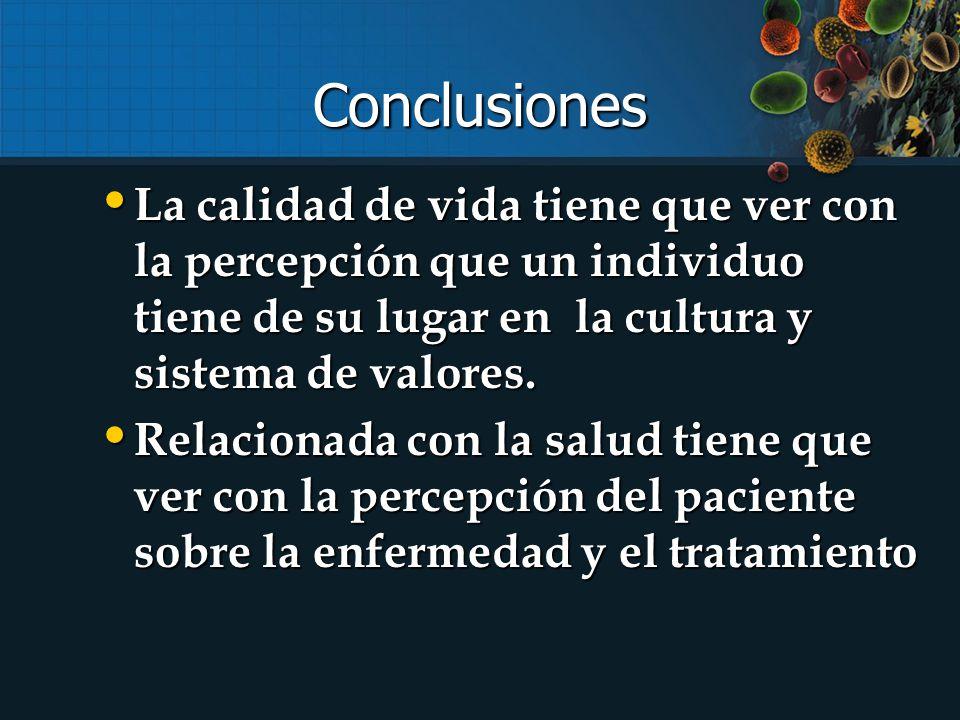 Conclusiones La calidad de vida tiene que ver con la percepción que un individuo tiene de su lugar en la cultura y sistema de valores.