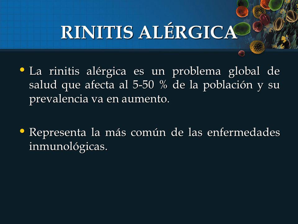 RINITIS ALÉRGICA La rinitis alérgica es un problema global de salud que afecta al 5-50 % de la población y su prevalencia va en aumento.