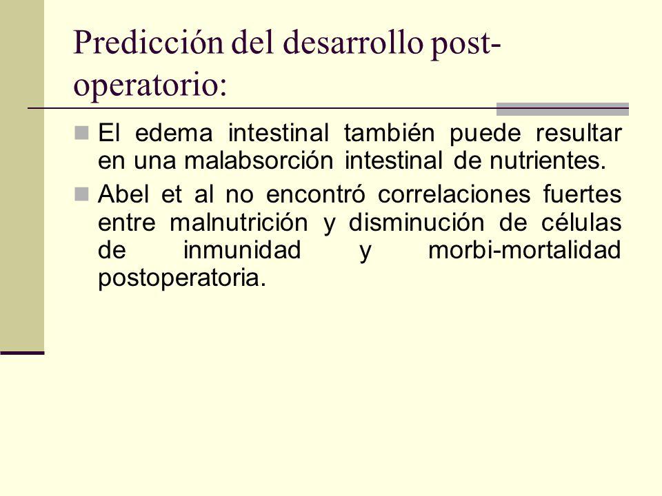 Predicción del desarrollo post- operatorio: El edema intestinal también puede resultar en una malabsorción intestinal de nutrientes. Abel et al no enc