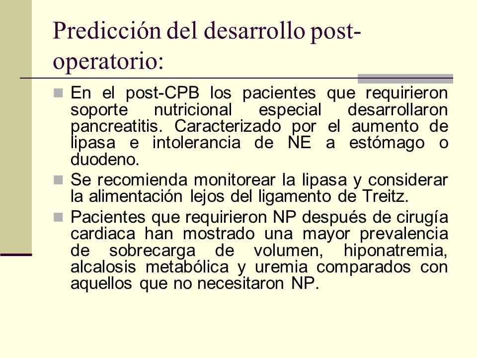 Predicción del desarrollo post- operatorio: En el post-CPB los pacientes que requirieron soporte nutricional especial desarrollaron pancreatitis. Cara