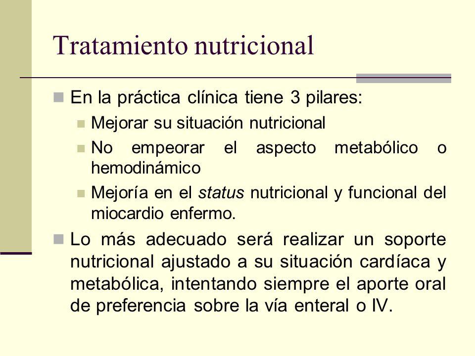 Tratamiento nutricional En la práctica clínica tiene 3 pilares: Mejorar su situación nutricional No empeorar el aspecto metabólico o hemodinámico Mejo