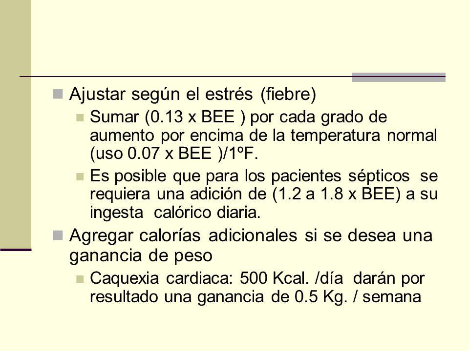 Ajustar según el estrés (fiebre) Sumar (0.13 x BEE ) por cada grado de aumento por encima de la temperatura normal (uso 0.07 x BEE )/1ºF. Es posible q