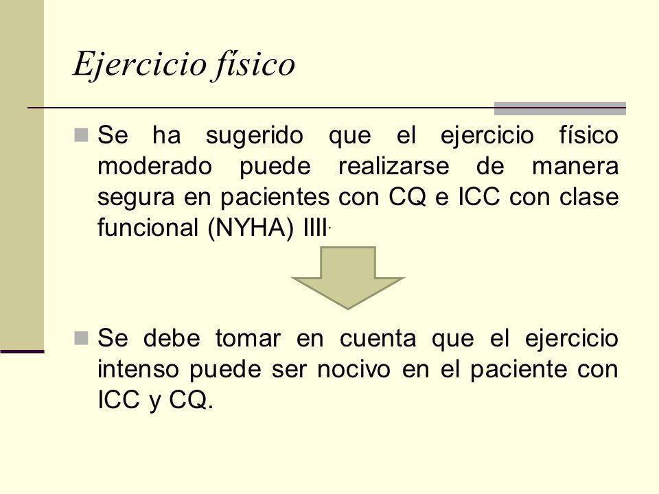 Ejercicio físico Se ha sugerido que el ejercicio físico moderado puede realizarse de manera segura en pacientes con CQ e ICC con clase funcional (NYHA