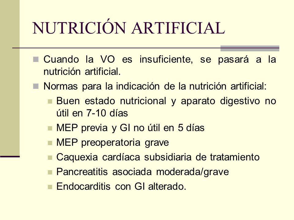 NUTRICIÓN ARTIFICIAL Cuando la VO es insuficiente, se pasará a la nutrición artificial. Normas para la indicación de la nutrición artificial: Buen est