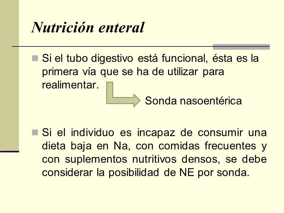 Nutrición enteral Si el tubo digestivo está funcional, ésta es la primera vía que se ha de utilizar para realimentar. Sonda nasoentérica Si el individ