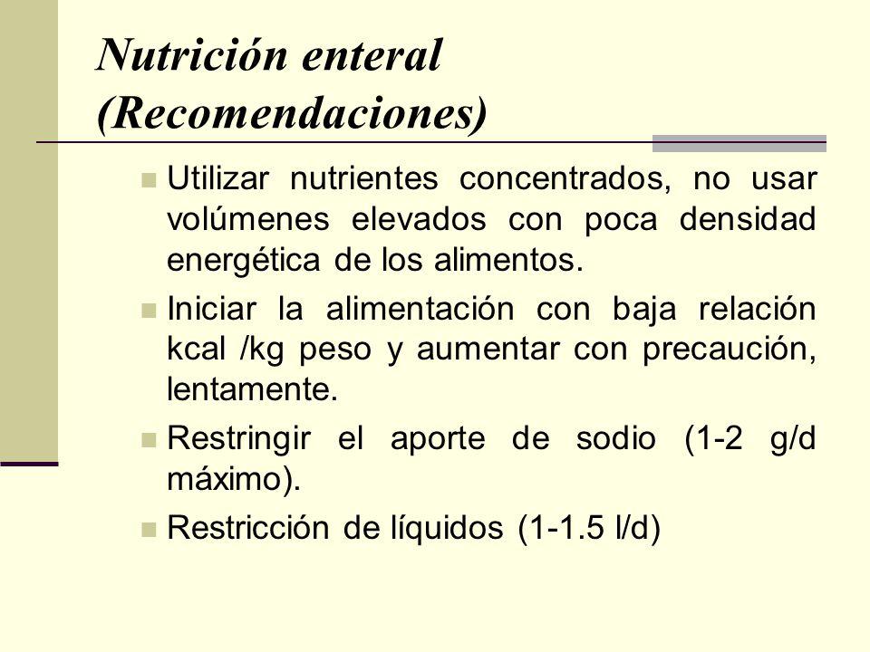 Nutrición enteral (Recomendaciones) Utilizar nutrientes concentrados, no usar volúmenes elevados con poca densidad energética de los alimentos. Inicia