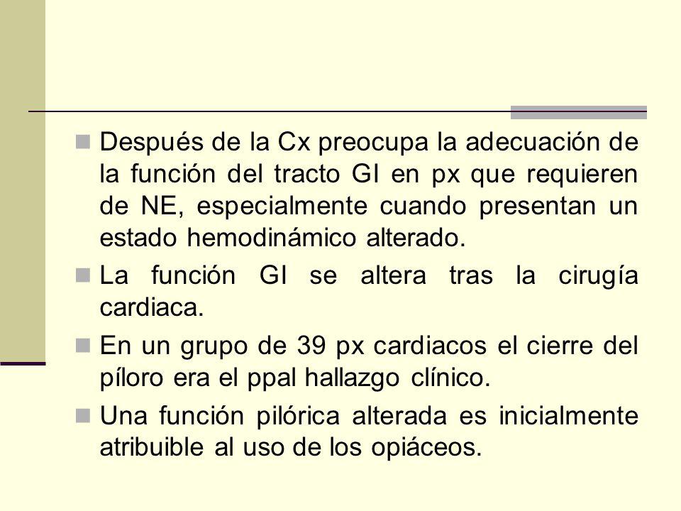 Después de la Cx preocupa la adecuación de la función del tracto GI en px que requieren de NE, especialmente cuando presentan un estado hemodinámico a