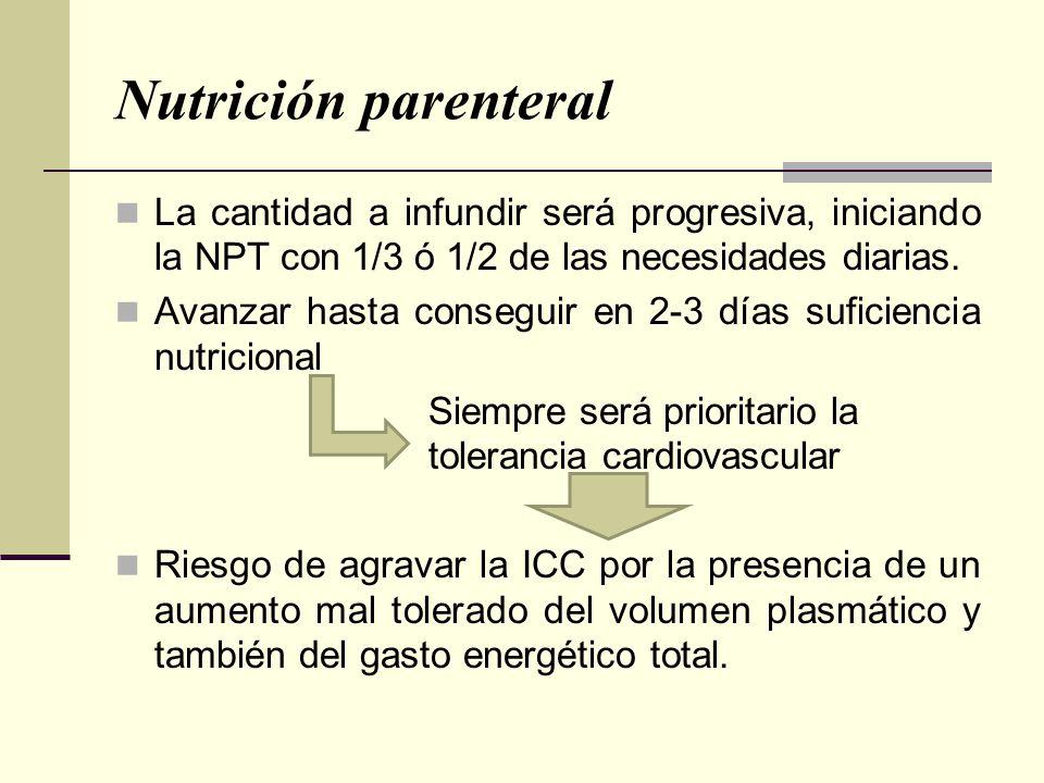 Nutrición parenteral La cantidad a infundir será progresiva, iniciando la NPT con 1/3 ó 1/2 de las necesidades diarias. Avanzar hasta conseguir en 2-3
