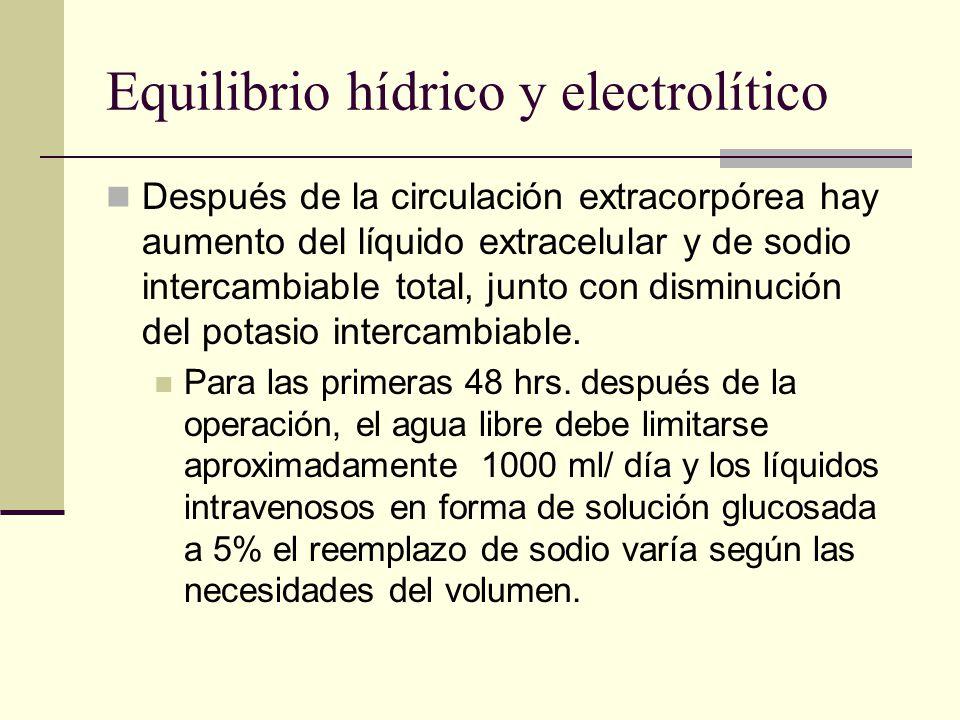 Equilibrio hídrico y electrolítico Después de la circulación extracorpórea hay aumento del líquido extracelular y de sodio intercambiable total, junto