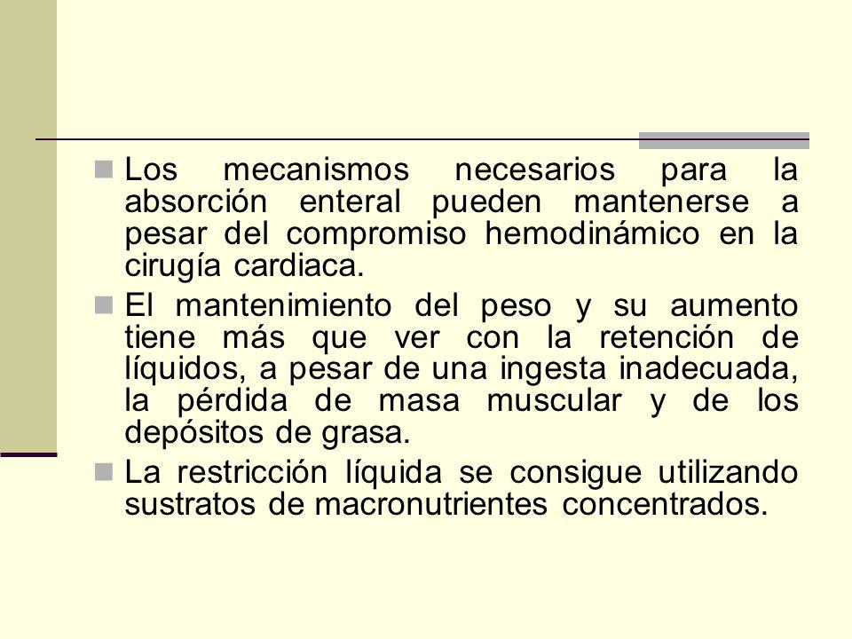 Los mecanismos necesarios para la absorción enteral pueden mantenerse a pesar del compromiso hemodinámico en la cirugía cardiaca. El mantenimiento del
