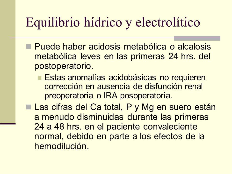 Equilibrio hídrico y electrolítico Puede haber acidosis metabólica o alcalosis metabólica leves en las primeras 24 hrs. del postoperatorio. Estas anom