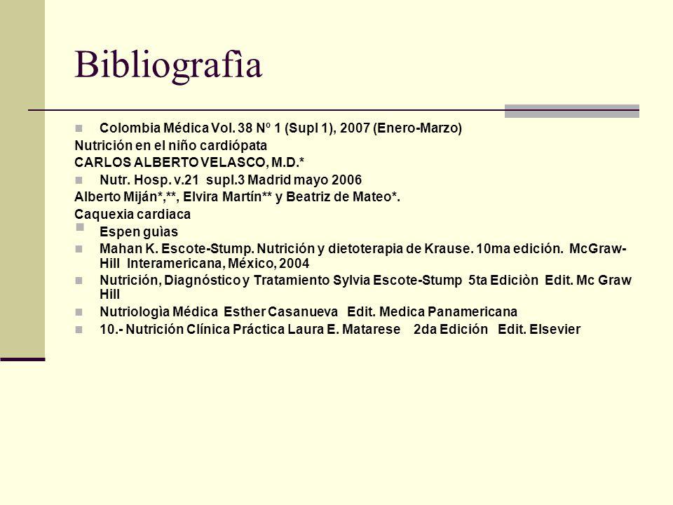 Bibliografìa Colombia Médica Vol. 38 Nº 1 (Supl 1), 2007 (Enero-Marzo) Nutrición en el niño cardiópata CARLOS ALBERTO VELASCO, M.D.* Nutr. Hosp. v.21