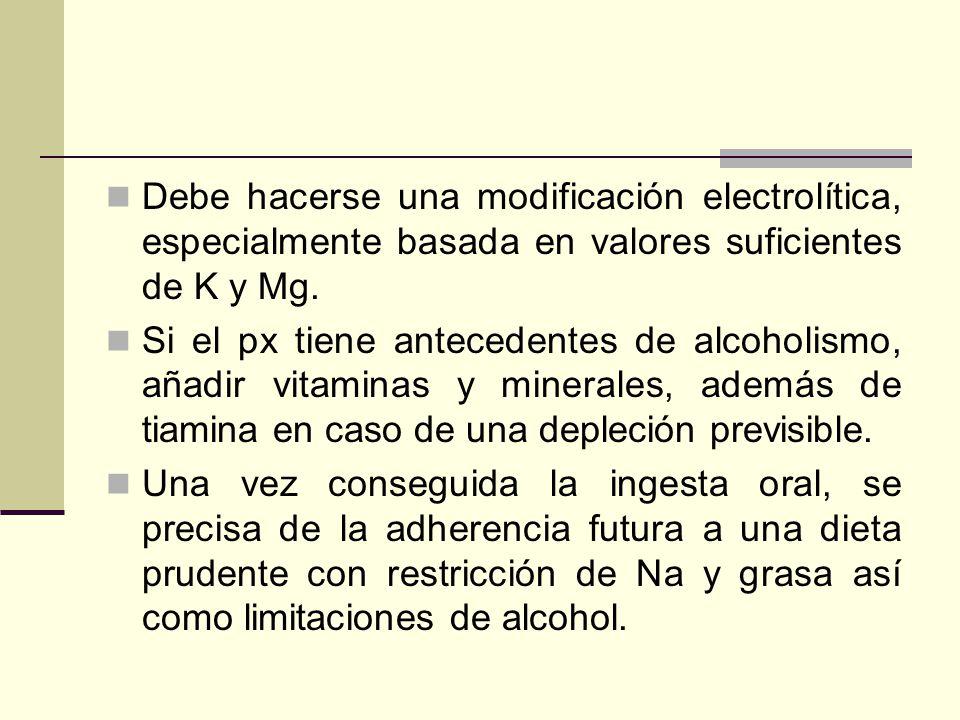 Debe hacerse una modificación electrolítica, especialmente basada en valores suficientes de K y Mg. Si el px tiene antecedentes de alcoholismo, añadir