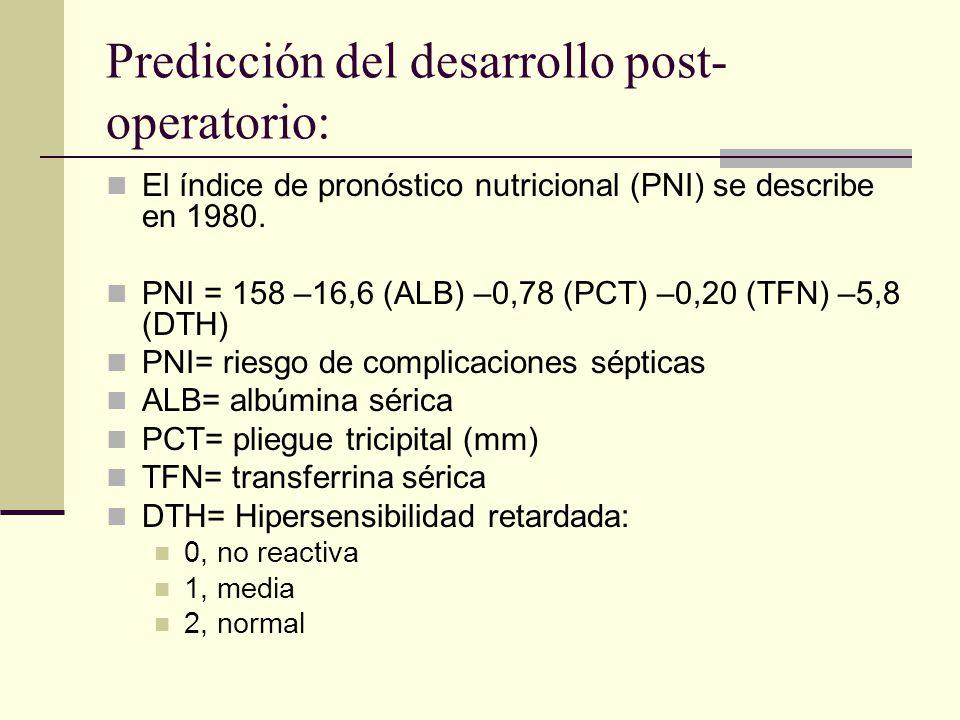 Predicción del desarrollo post- operatorio: El índice de pronóstico nutricional (PNI) se describe en 1980. PNI = 158 –16,6 (ALB) –0,78 (PCT) –0,20 (TF
