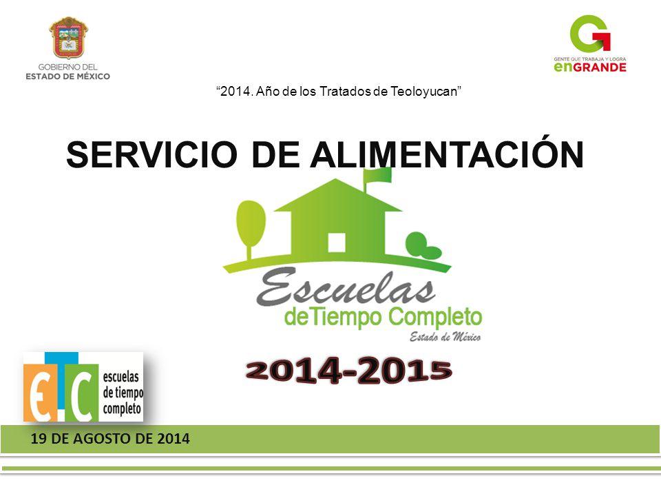19 DE AGOSTO DE 2014 2014. Año de los Tratados de Teoloyucan SERVICIO DE ALIMENTACIÓN