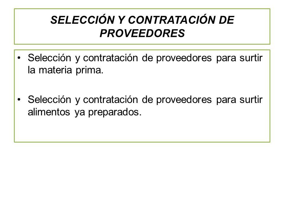 SELECCIÓN Y CONTRATACIÓN DE PROVEEDORES Selección y contratación de proveedores para surtir la materia prima.