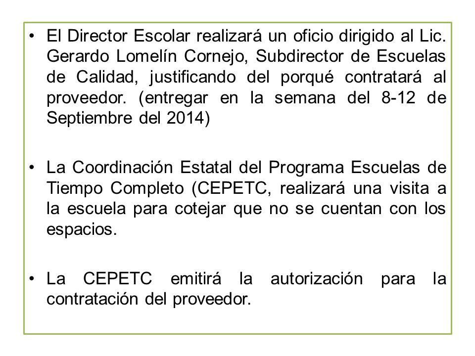 El Director Escolar realizará un oficio dirigido al Lic.