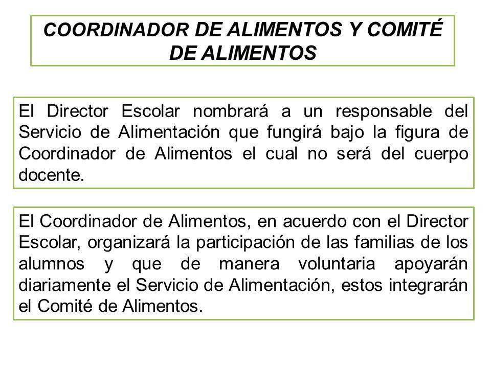 El Director Escolar nombrará a un responsable del Servicio de Alimentación que fungirá bajo la figura de Coordinador de Alimentos el cual no será del cuerpo docente.