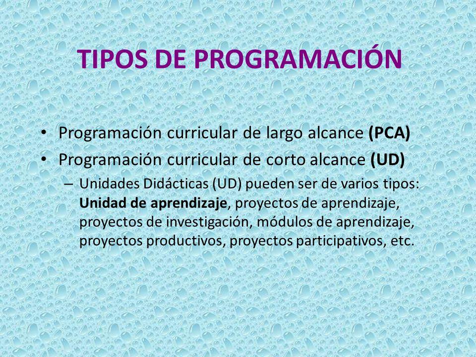 TIPOS DE PROGRAMACIÓN Programación curricular de largo alcance (PCA) Programación curricular de corto alcance (UD) – Unidades Didácticas (UD) pueden s