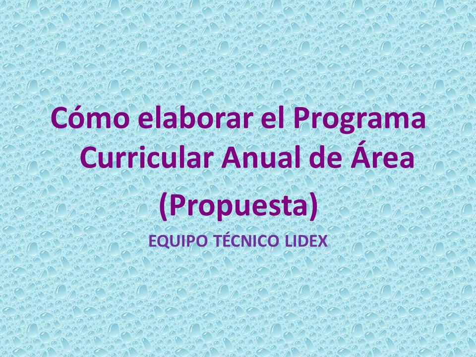 Cómo elaborar el Programa Curricular Anual de Área (Propuesta) EQUIPO TÉCNICO LIDEX