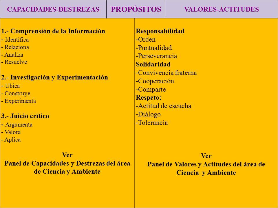 CAPACIDADES-DESTREZAS PROPÓSITOS VALORES-ACTITUDES 1.- Comprensión de la Información - Identifica - Relaciona - Analiza - Resuelve 2.- Investigación y
