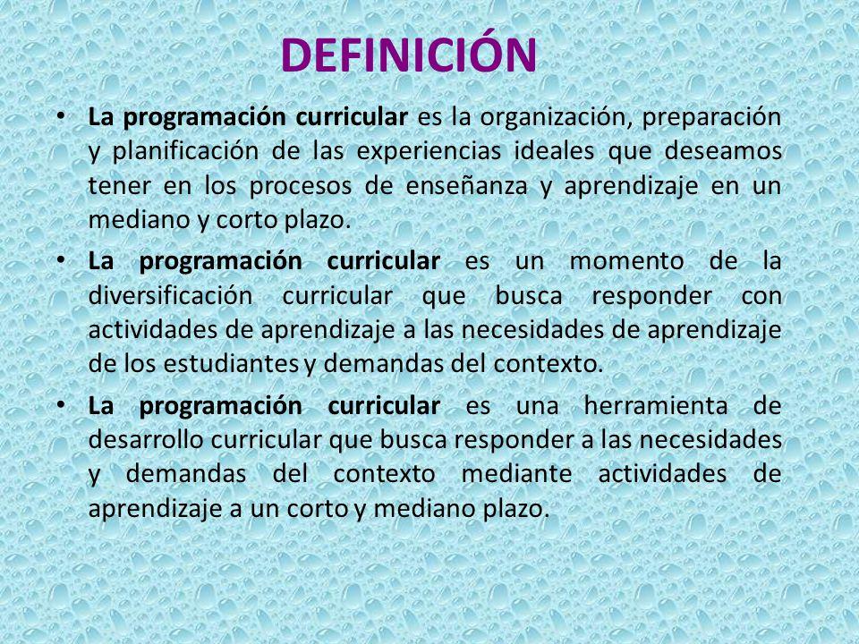 DEFINICIÓN La programación curricular es la organización, preparación y planificación de las experiencias ideales que deseamos tener en los procesos d