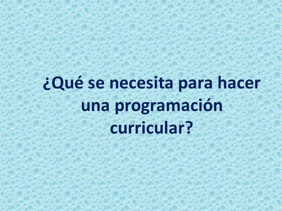 ¿Qué se necesita para hacer una programación curricular?