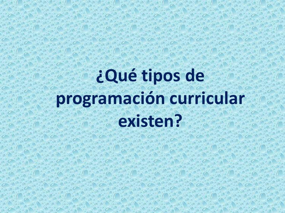 ¿Qué tipos de programación curricular existen?