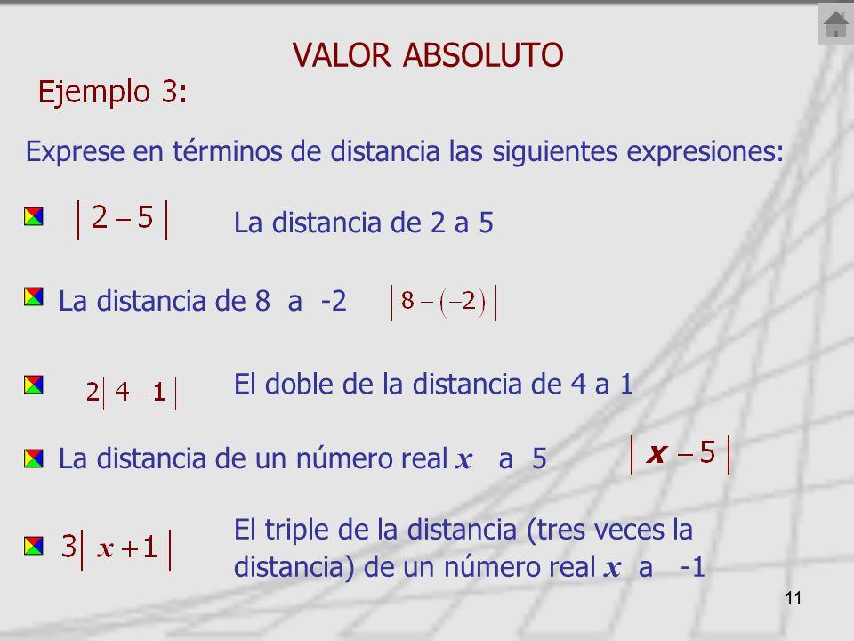 11 VALOR ABSOLUTO Exprese en términos de distancia las siguientes expresiones: La distancia de 2 a 5 La distancia de 8 a -2 La distancia de un número real x a 5 El triple de la distancia (tres veces la distancia) de un número real x a -1 El doble de la distancia de 4 a 1