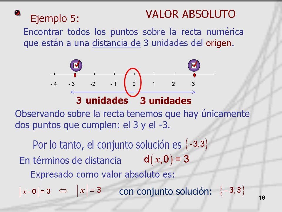 16 En términos de distancia Observando sobre la recta tenemos que hay únicamente dos puntos que cumplen: el 3 y el -3.