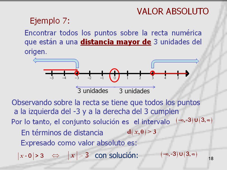 18 En términos de distancia Observando sobre la recta se tiene que todos los puntos a la izquierda del -3 y a la derecha del 3 cumplen 3 unidades con solución: